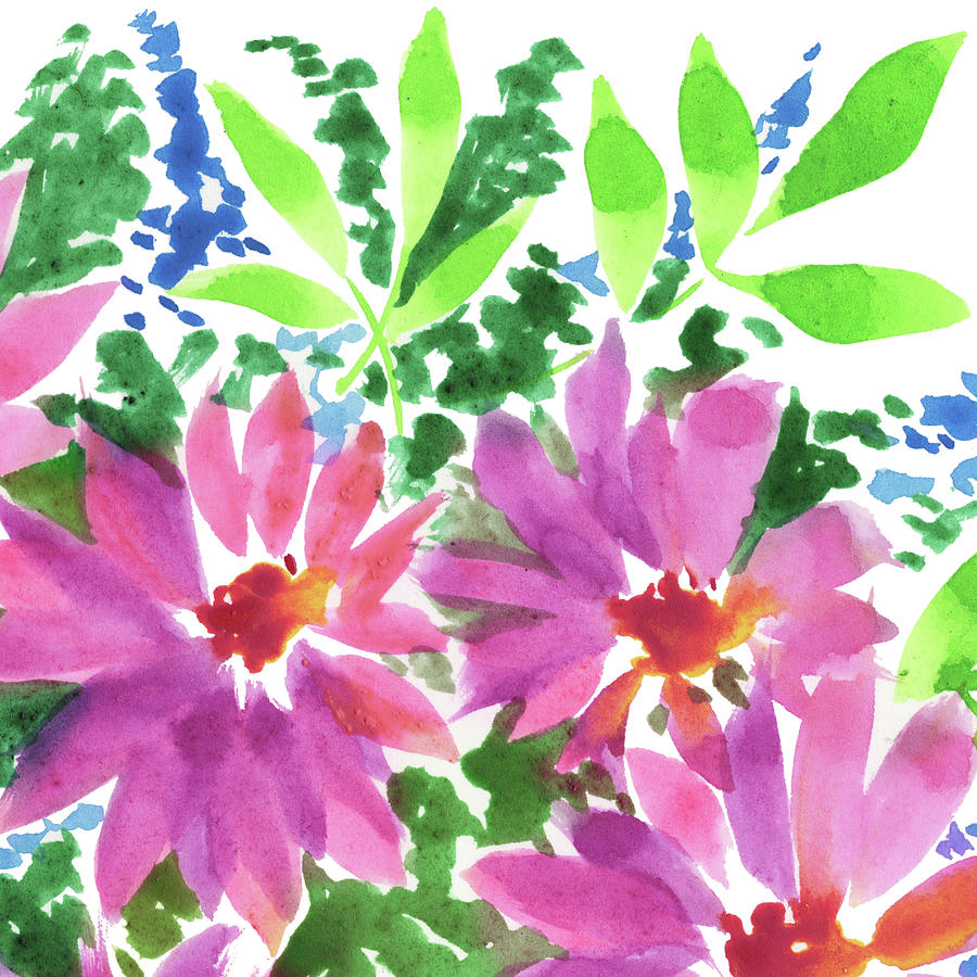 Pink And Green Impressionism Watercolor Bouquet Painting
