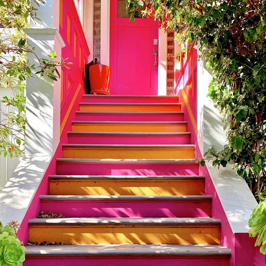 Pink And Orange Stairs square Photograph by Julie Gebhardt