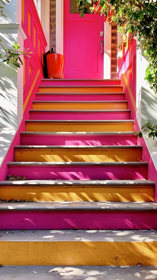 Pink And Orange Stairs Photograph by Julie Gebhardt