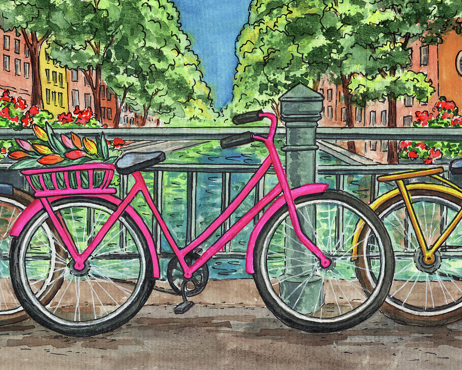 Pink Bicycle With Tulips In The Basket On Amsterdam Bridge Painting