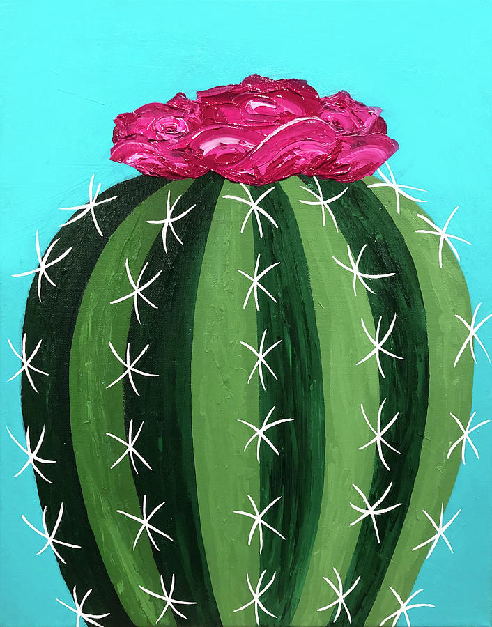 Cactus Painting - Pink Cactus by Allison Liffman