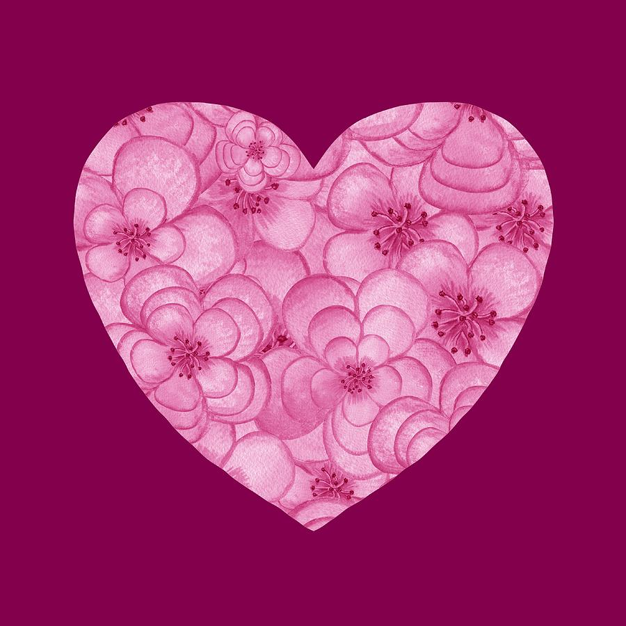 Pink Floral Heart Love And Valentine Painting