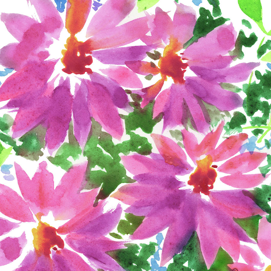Pink Painting - Pink Floral Impressionism In Watercolor  by Irina Sztukowski