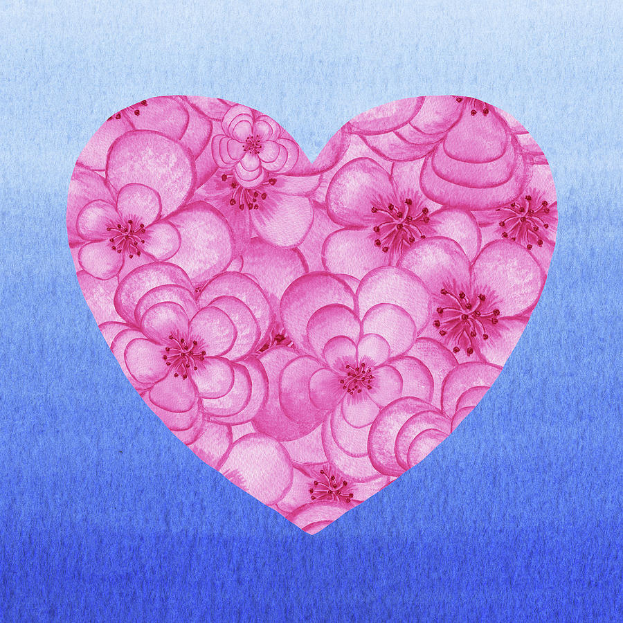 Pink Flowers Heart Blue Sky Watercolor Painting