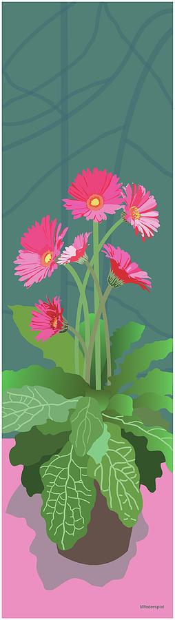 Floral Painting - Pink Gerbera Daisies by Marian Federspiel