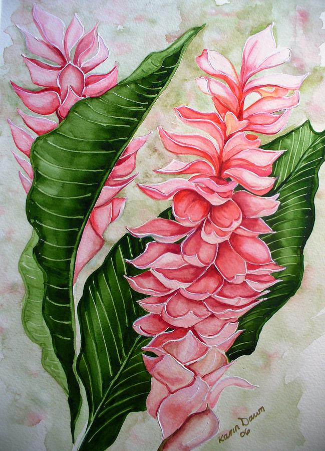 Pink Ginger Lilies Painting by Karin  Dawn Kelshall- Best