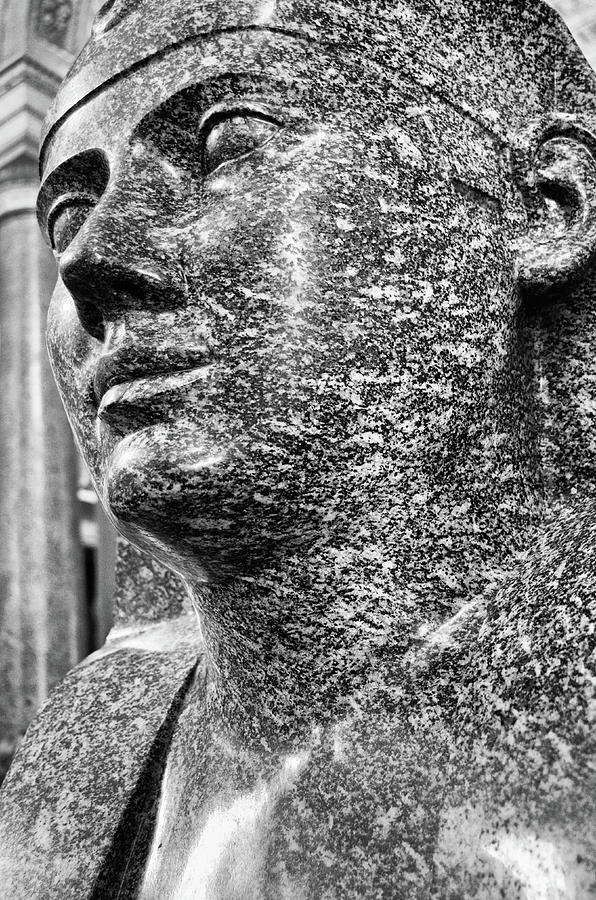 Pink Granite Sphinx Portrait Vatican Museums Rome Italy Black and White by Shawn O'Brien
