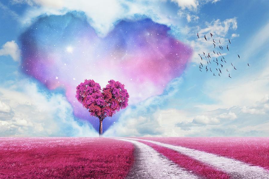 Pink Heart Tree Digital Art