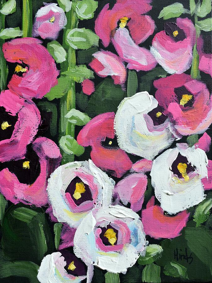 Pink Hollyhocks Painting