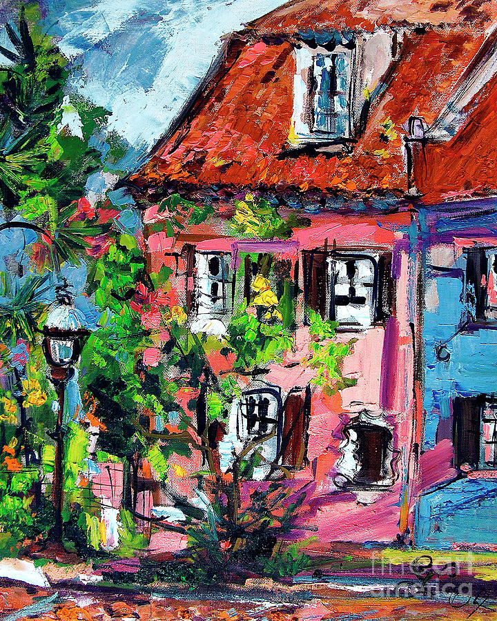 Pink House On Chalmers Street Charleston Painting by Ginette Callaway
