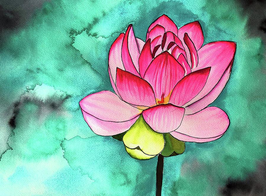 Lotus Painting - Pink Lotus Flower by Sacha Grossel
