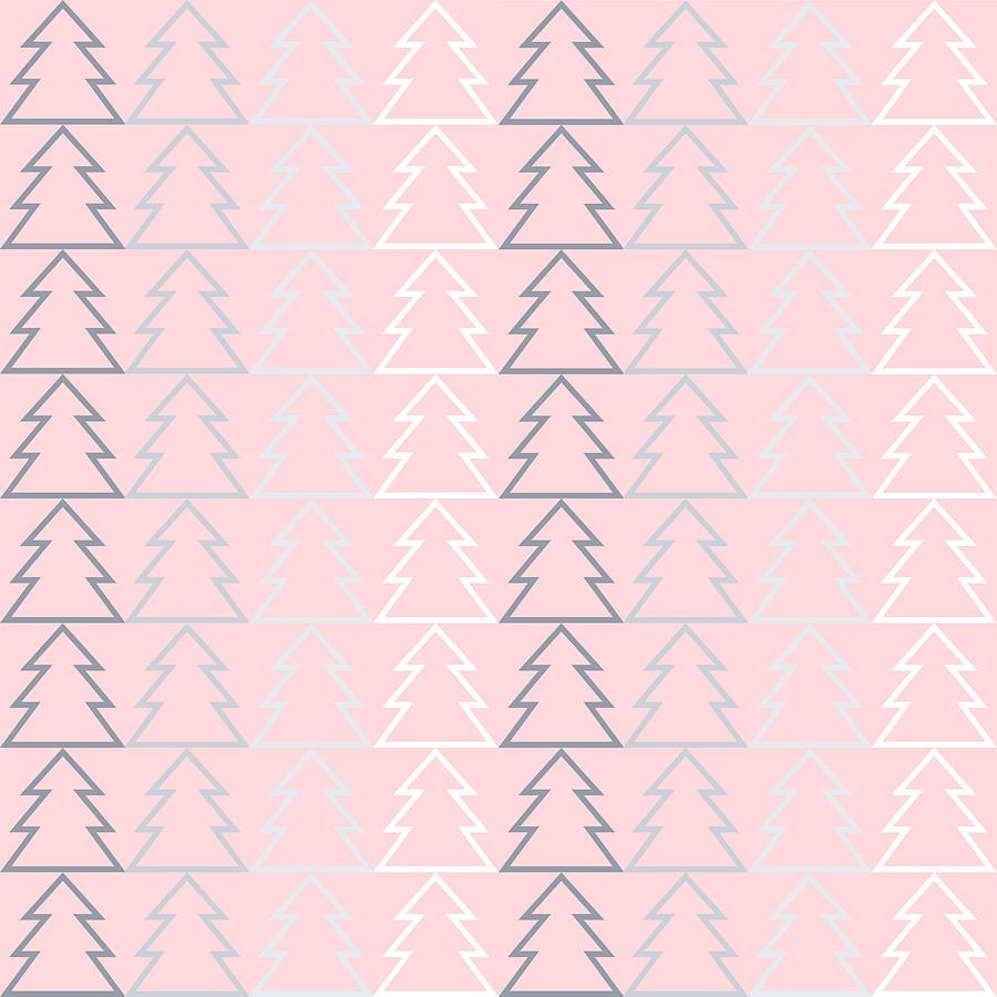 Modern Digital Art - Pink Modern Minimal Christmas Trees Pattern Geometric by Sweet Birdie Studio