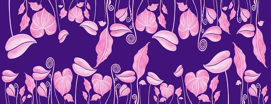 Pink On Purple Exotic Plants And Leaves Watercolor Pattern Painting