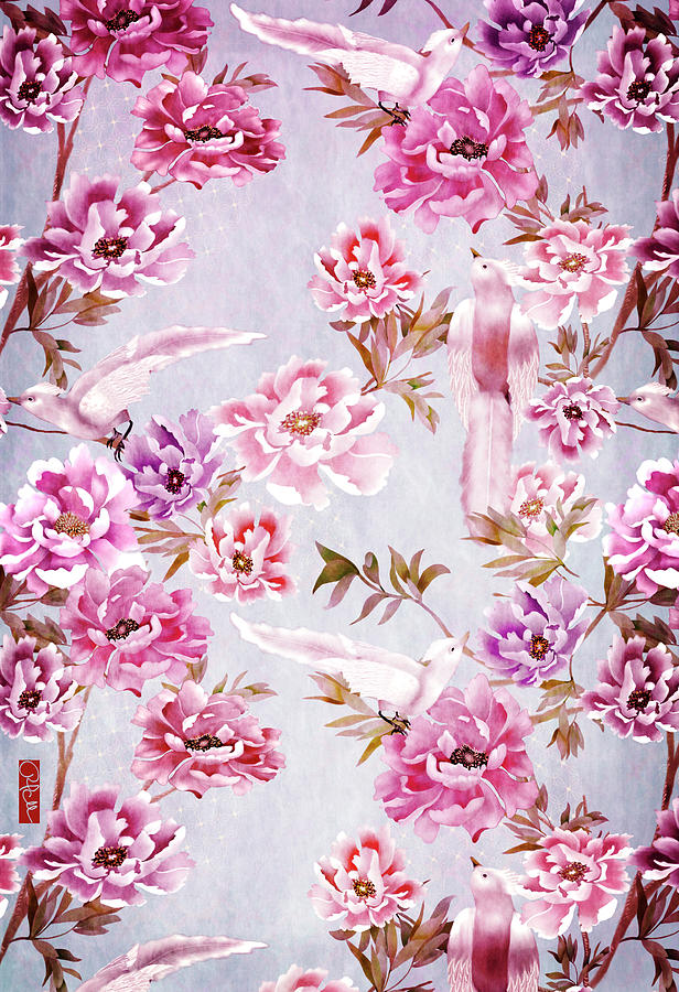 Pink Peony And Royal Birds Chinoiserie Digital Art