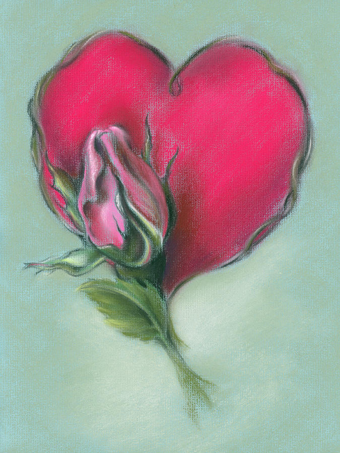 Pink Rosebud and Heart by MM Anderson