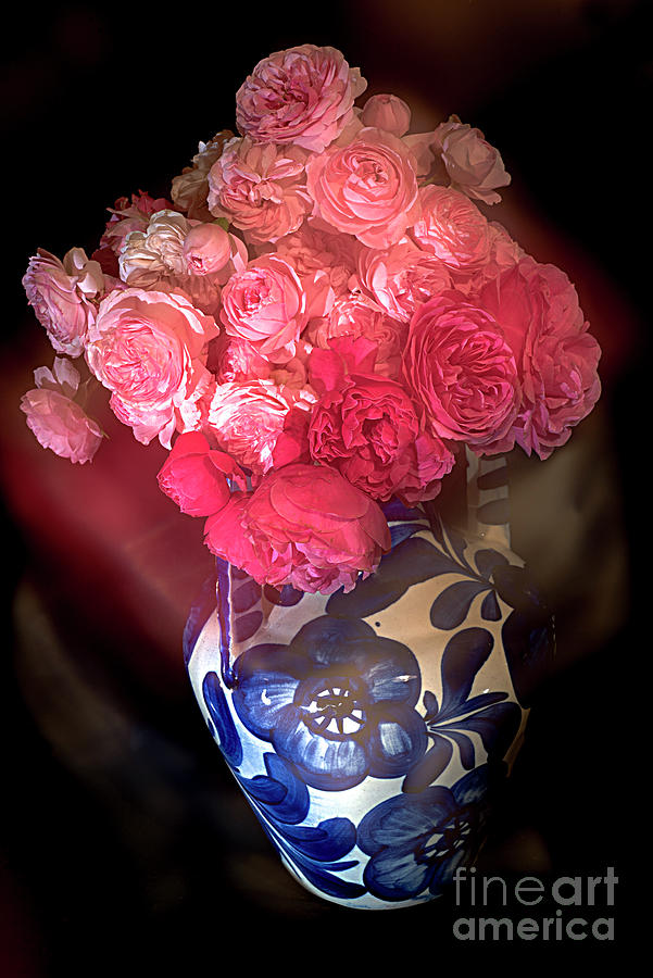 Pink Roses In A Blue Vase. Photograph