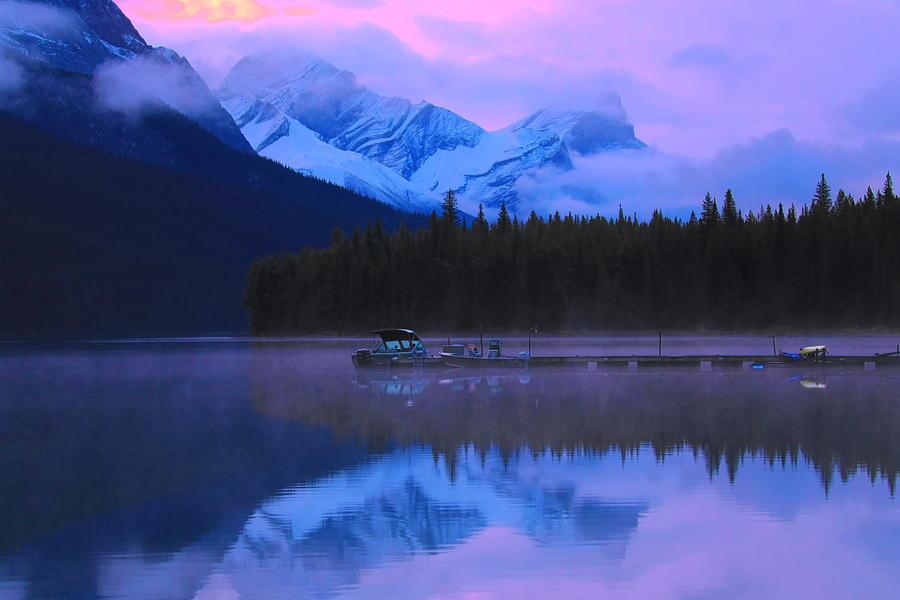Pink Sunrise Maligne Lake by Dan Sproul