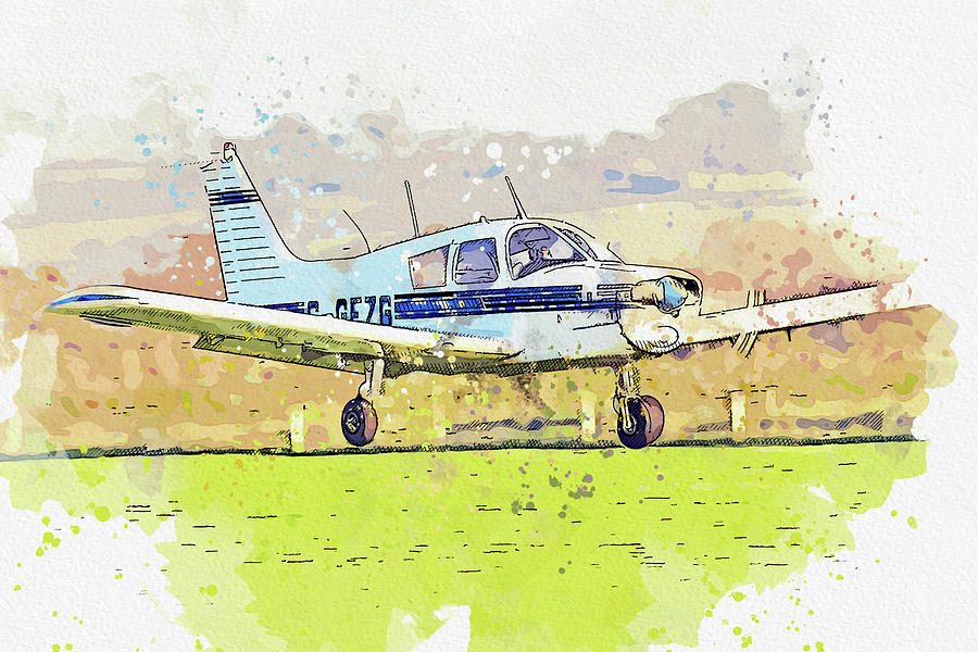 Piper Pa Cherokee G-gfzg War Planes In Watercolor Ca By Ahmet Asar Painting