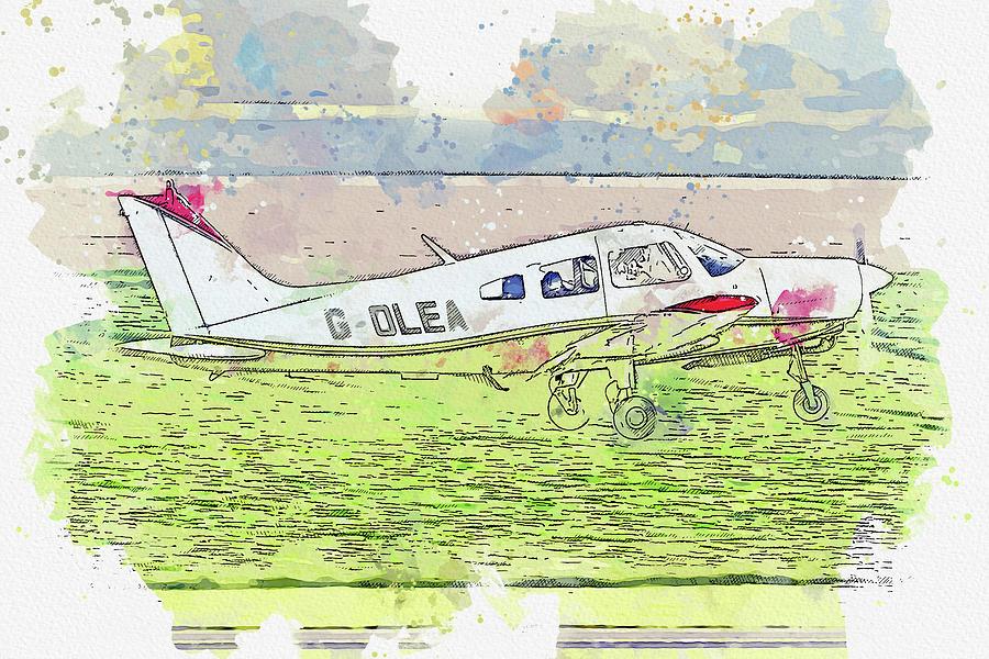 Piper Pa- Cherokee Warrior G-olea War Planes In Watercolor Ca By Ahmet Asar Painting