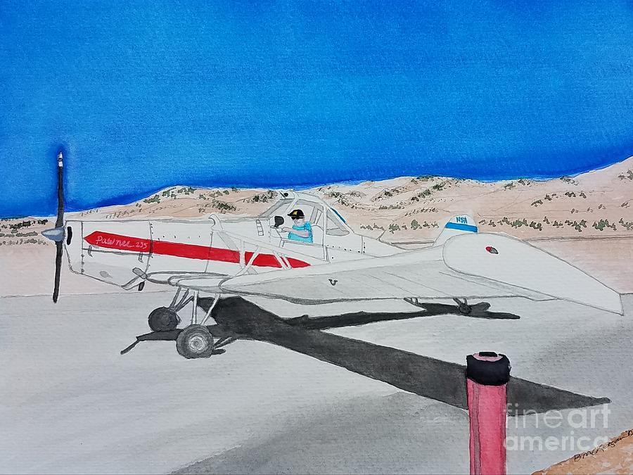 Airplane Painting - Piper Pawnee 235 Glider Tow Plane by Bonnie McKeegan