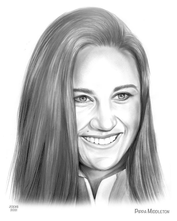 Pippa Middleton Drawing - Pippa - pencil by Greg Joens