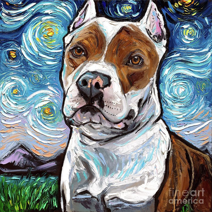 Pitbull Painting - Pitbull Night 2 by Aja Trier