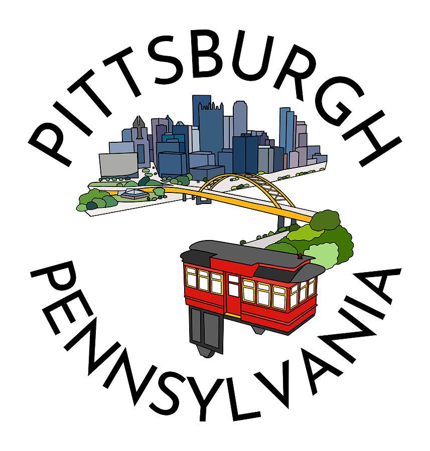 Pittsburgh Pennsylvania City Skyline Incline Line Art Drawing Print Drawing
