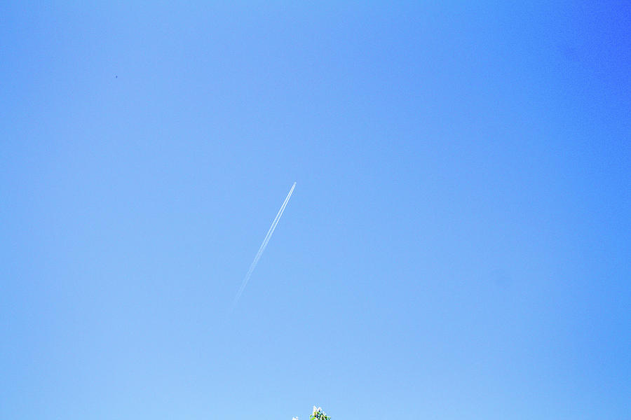 Plane And Trail On The Sky, No Clouds Photograph