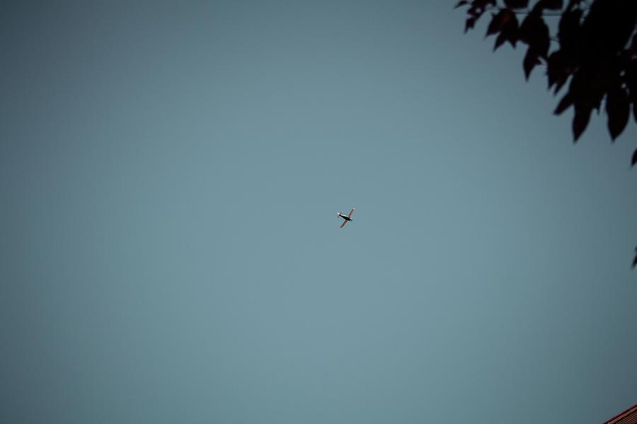 Plane In The Sky Vignette Vintage Effect Photograph