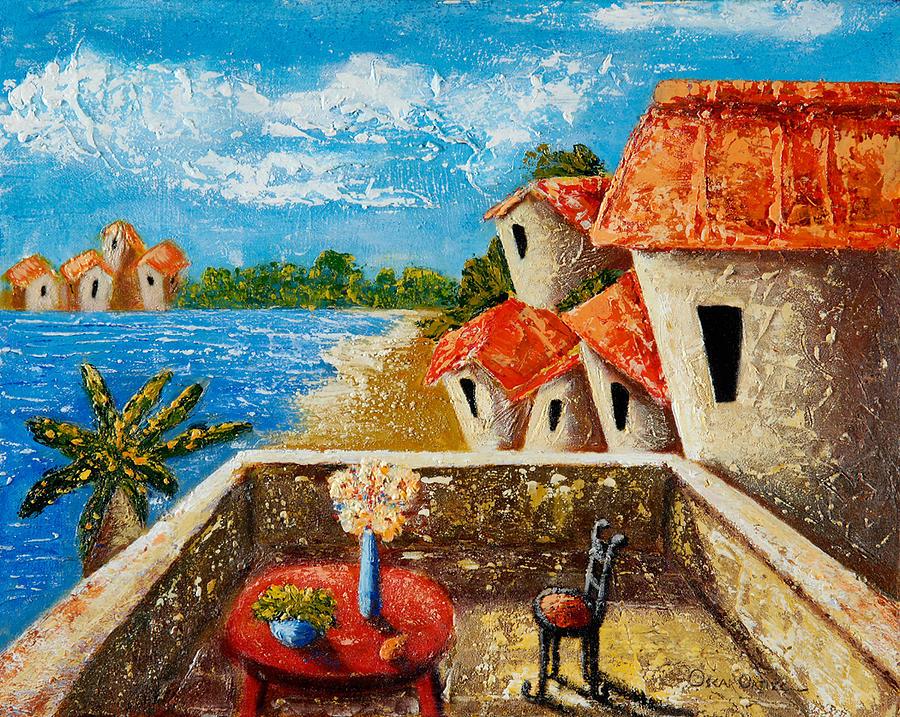 Landscape Painting - Playa Gorda  by Oscar Ortiz