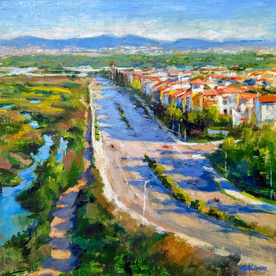 Lincoln Boulevard Painting - Playa Vista And Ballona Wetlands From Bluff Trail Park by Peter Salwen