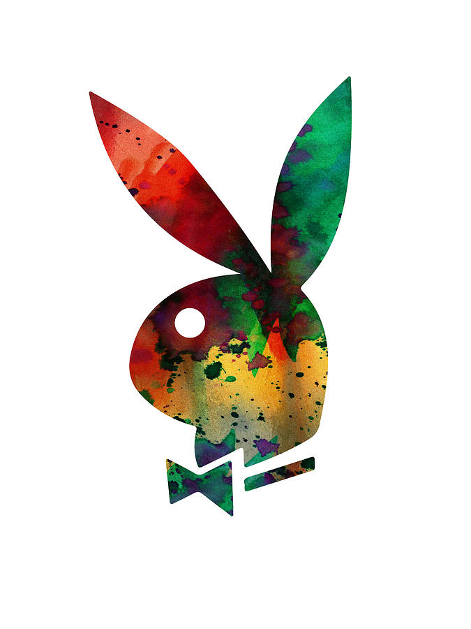 Playboy Rabbit Watercolor Digital Art