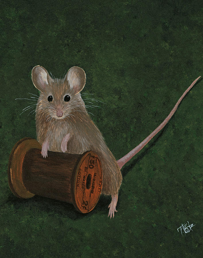 Mouse Painting - Playful Mouse by Tes Scholtz