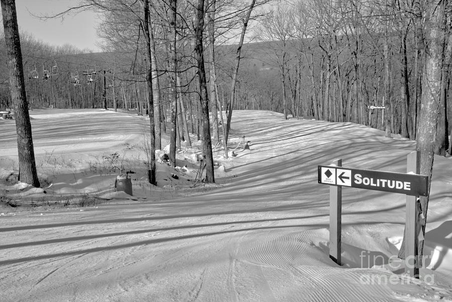 Poconos Solitude Ski Slope Black And White by Adam Jewell