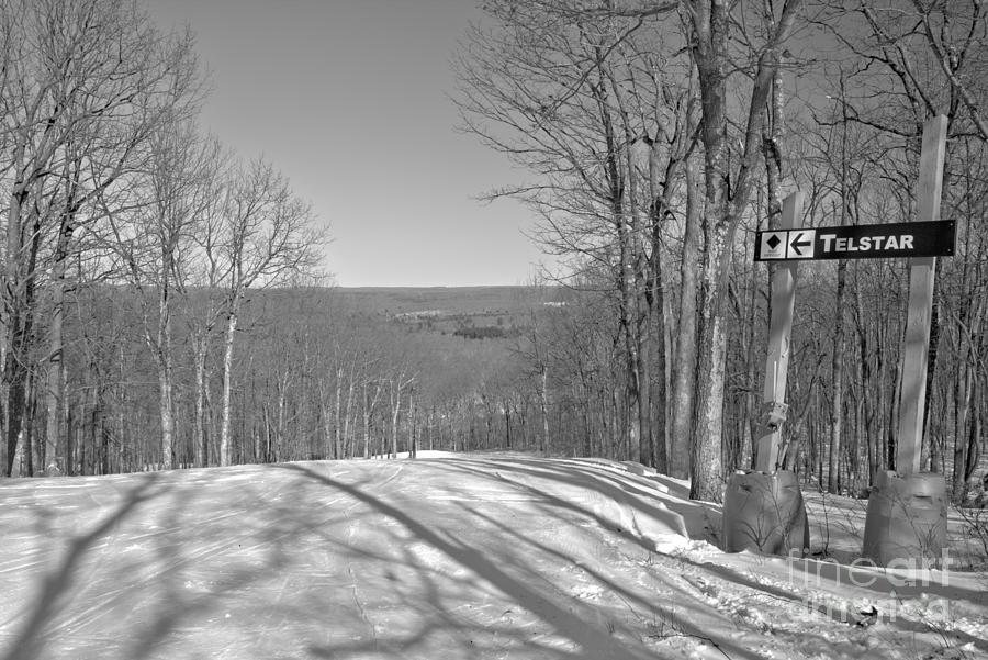 Poconos Telstar Ski Slope Black And White by Adam Jewell