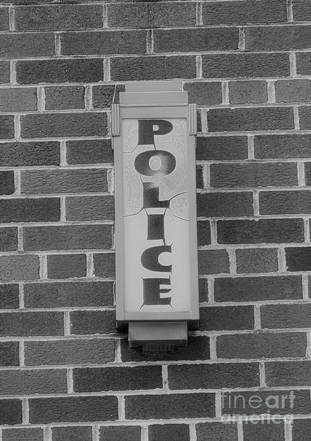 Police Light In Black And White Photograph