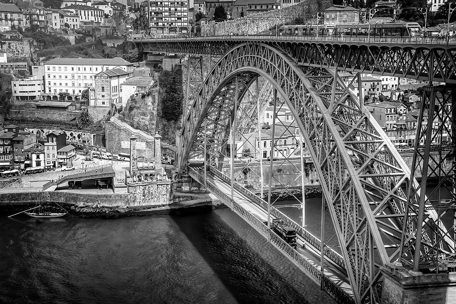 Ponte Luis Porto Portugal Black And White Photograph