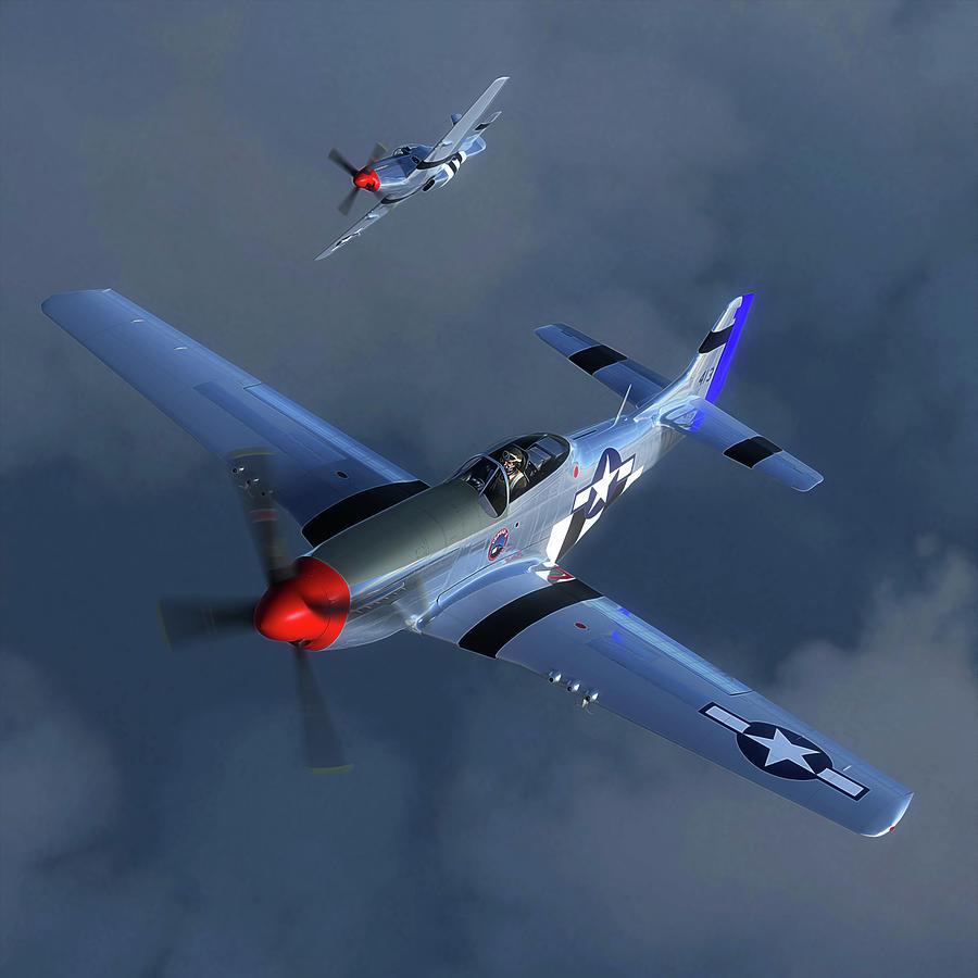 P-51 Mustang Digital Art - Pony Riders by Hangar B Productions
