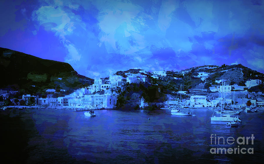 Ponza Bay Beautiful Panoramic View In Blue Tones - Italy Photograph