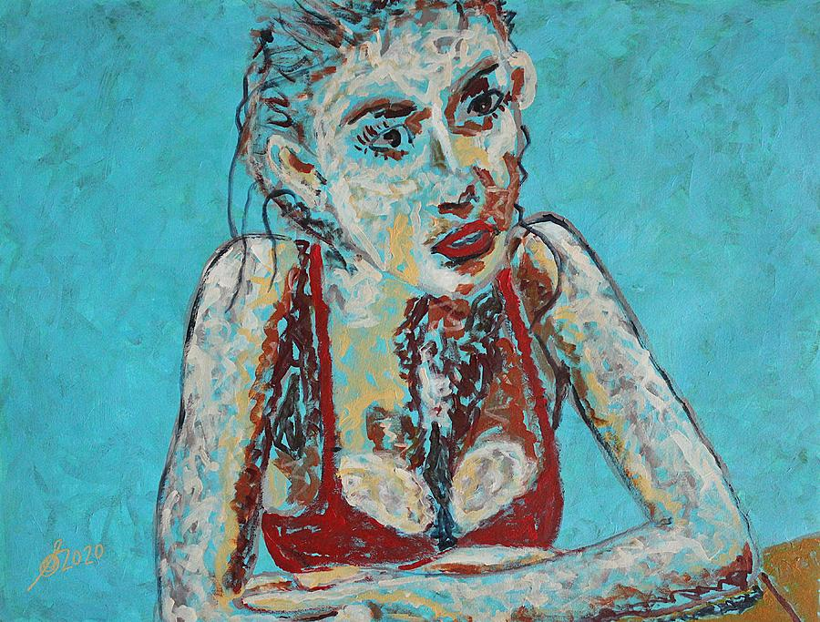 Poolside original painting by Sol Luckman