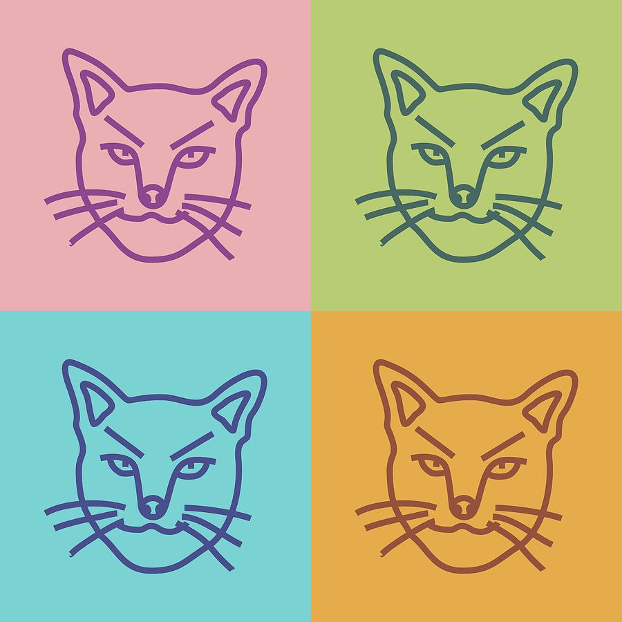 Pop Art Angry Cat Line Art Digital Art