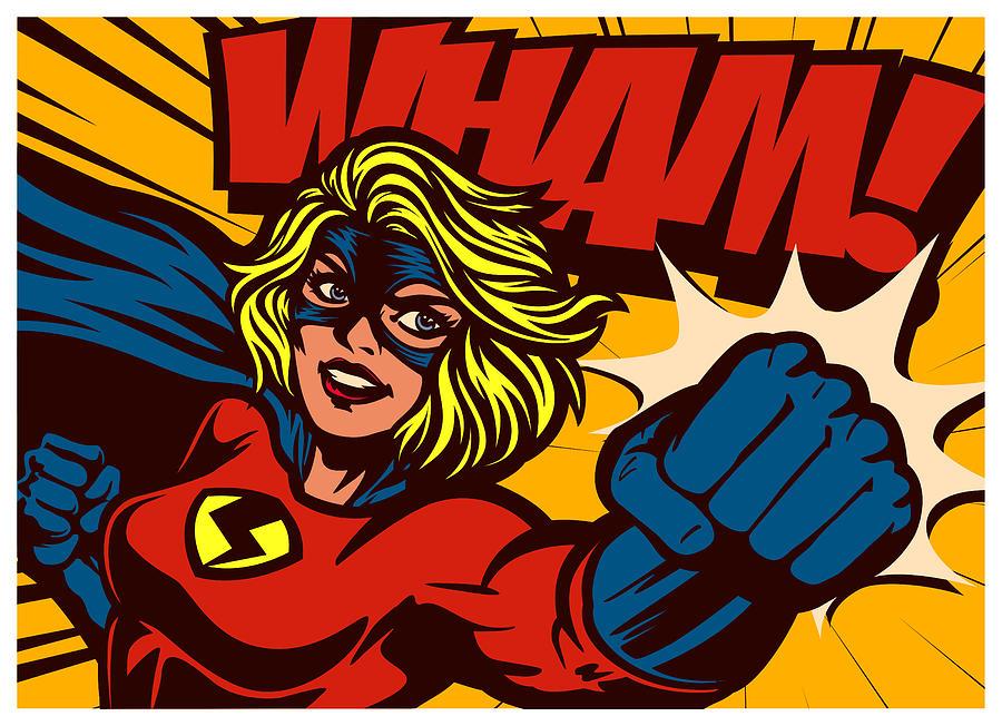 Pop art comic book style superheroine punching female superhero vector illustration Drawing by Drante
