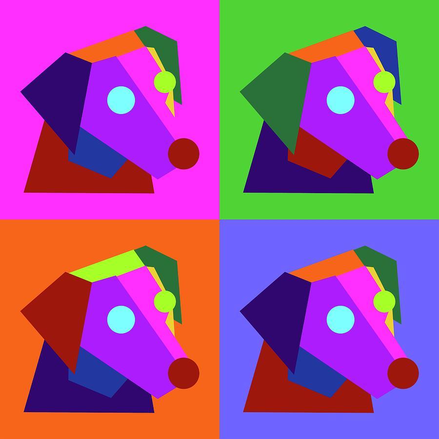 Pop Art Cute Dog Geometric Wpap Style Digital Art