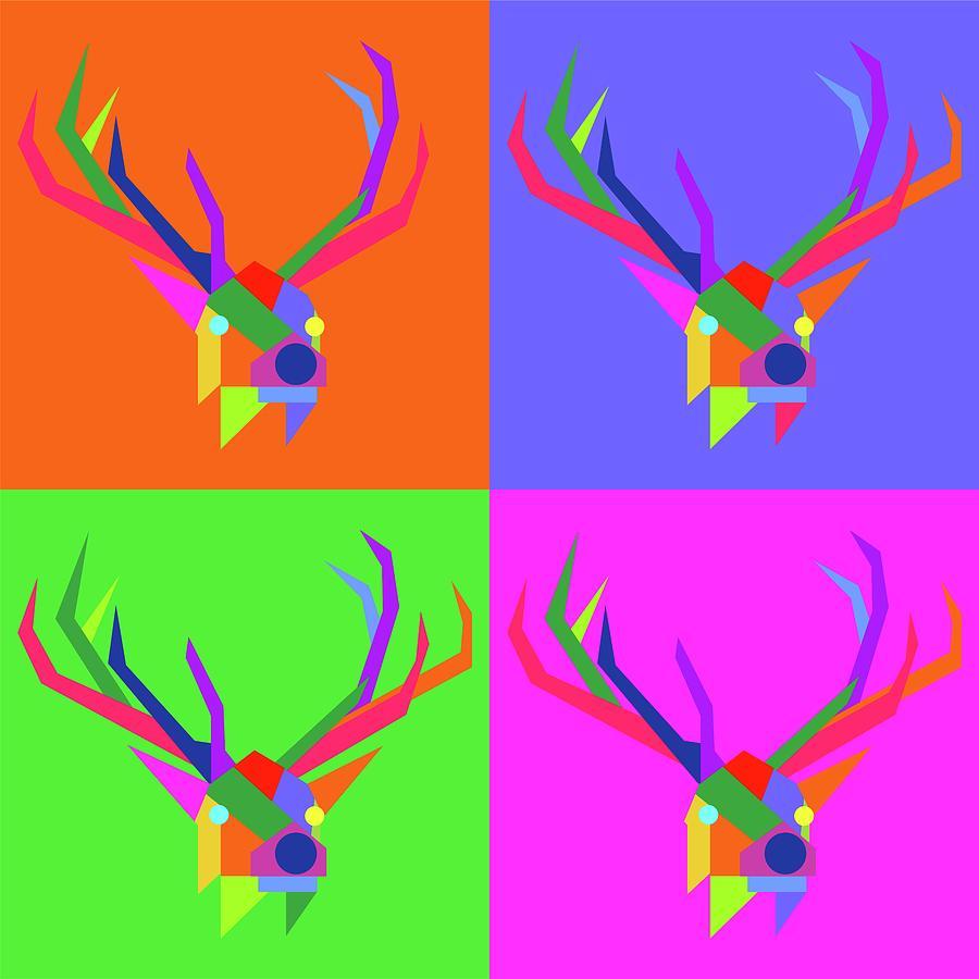 Pop Art Elk Geometric Wpap Style Digital Art