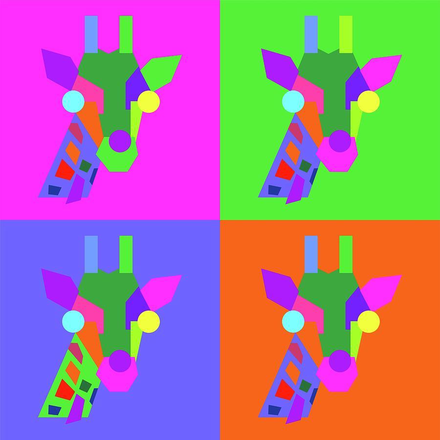 Pop Art Giraffe Geometric Wpap Style Digital Art