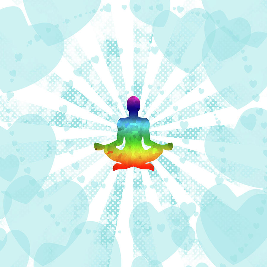 Background Digital Art - Pop art illustration of a man in yoga meditation with a rainbow inside on the background of hearts by Elena Sysoeva