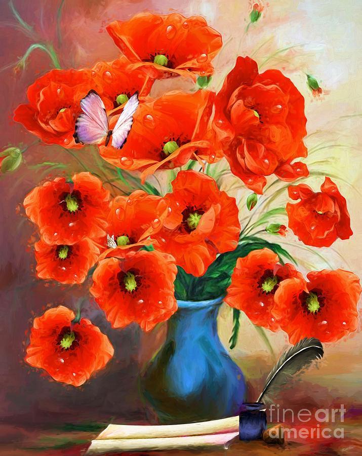 Poppies Photo Painting Mixed Media