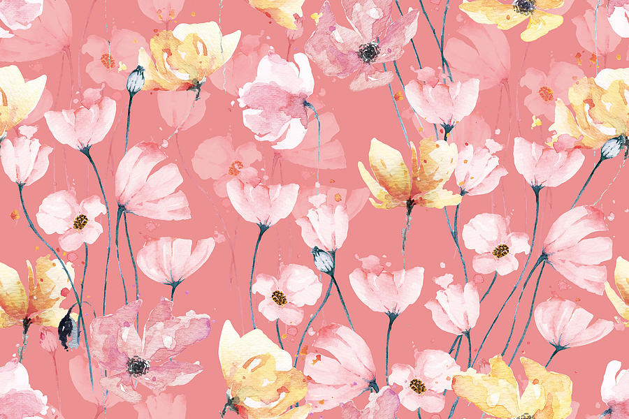 Poppies Seamless Pattern With Watercolor Pastel Background. Hand Drawn Floral Pattern Illustration. Poppy Garden. Abstract Background. Drawing