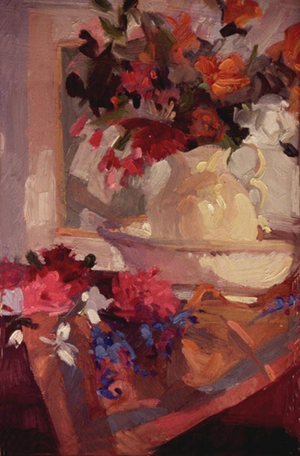 Still Life Painting - Porcelain and Peonies by Betty Jean Billups
