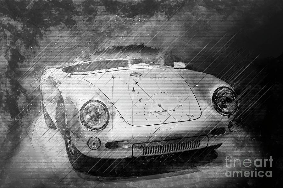 Porsche 550 Mixed Media - Porsche 550 RS Spyder 1955 Black and White by Stefano Senise